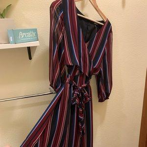 Madewell faux-wrap striped print Maxi dress.